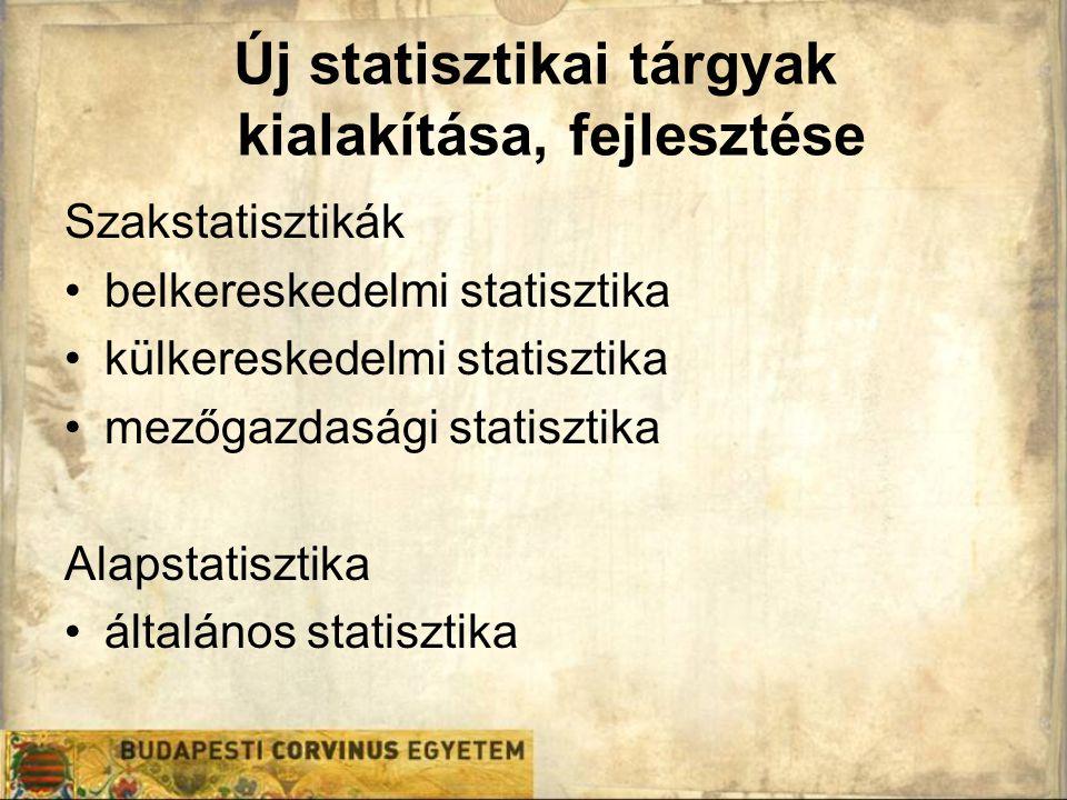 Új statisztikai tárgyak kialakítása, fejlesztése Szakstatisztikák belkereskedelmi statisztika külkereskedelmi statisztika mezőgazdasági statisztika Al