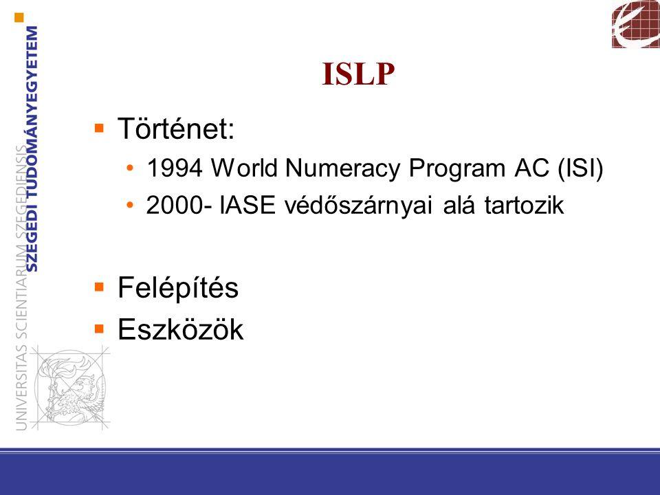 ISLP  Történet: 1994 World Numeracy Program AC (ISI) 2000- IASE védőszárnyai alá tartozik  Felépítés  Eszközök