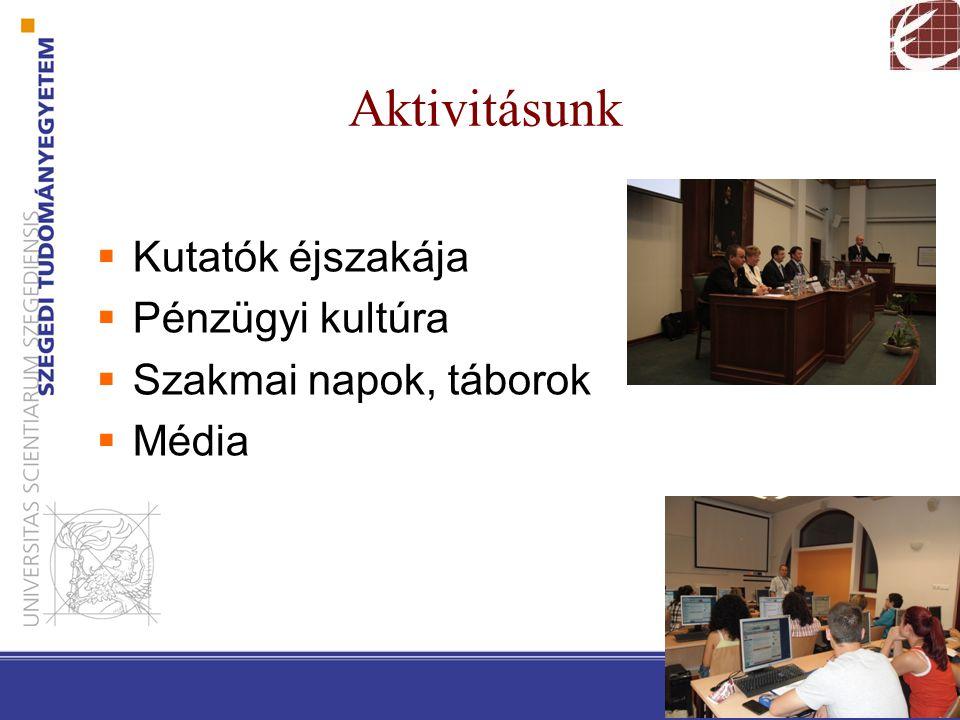 Aktivitásunk  Kutatók éjszakája  Pénzügyi kultúra  Szakmai napok, táborok  Média