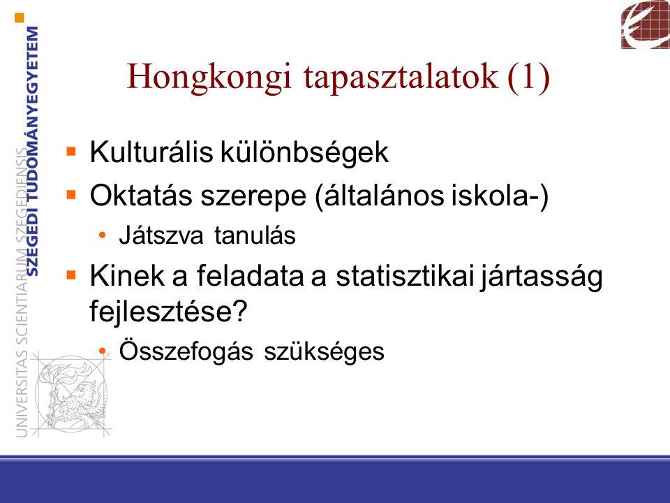 Hongkongi tapasztalatok (1)  Kulturális különbségek  Oktatás szerepe (általános iskola-) Játszva tanulás  Kinek a feladata a statisztikai jártasság fejlesztése.