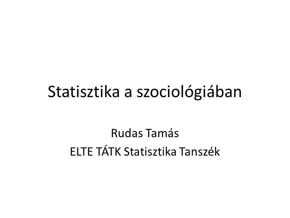 Statisztika a szociológiában Rudas Tamás ELTE TÁTK Statisztika Tanszék