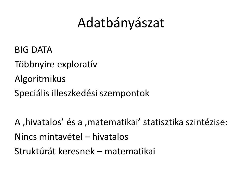 Adatbányászat BIG DATA Többnyire exploratív Algoritmikus Speciális illeszkedési szempontok A 'hivatalos' és a 'matematikai' statisztika szintézise: Nincs mintavétel – hivatalos Struktúrát keresnek – matematikai