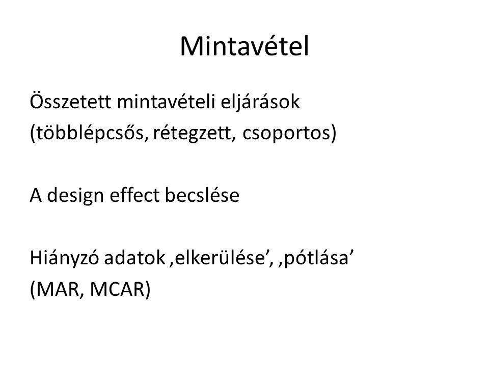 Mintavétel Összetett mintavételi eljárások (többlépcsős, rétegzett, csoportos) A design effect becslése Hiányzó adatok 'elkerülése', 'pótlása' (MAR, MCAR)