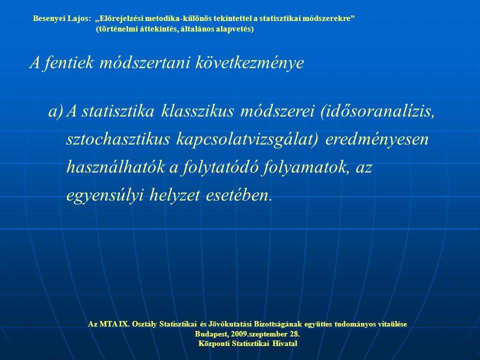 """Besenyei Lajos: """"Előrejelzési metodika-különös tekintettel a statisztikai módszerekre"""" (történelmi áttekintés, általános alapvetés) Az MTA IX. Osztály"""