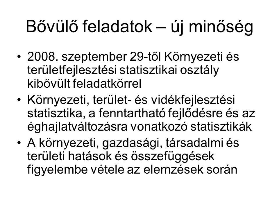 Bővülő feladatok – új minőség 2008. szeptember 29-től Környezeti és területfejlesztési statisztikai osztály kibővült feladatkörrel Környezeti, terület