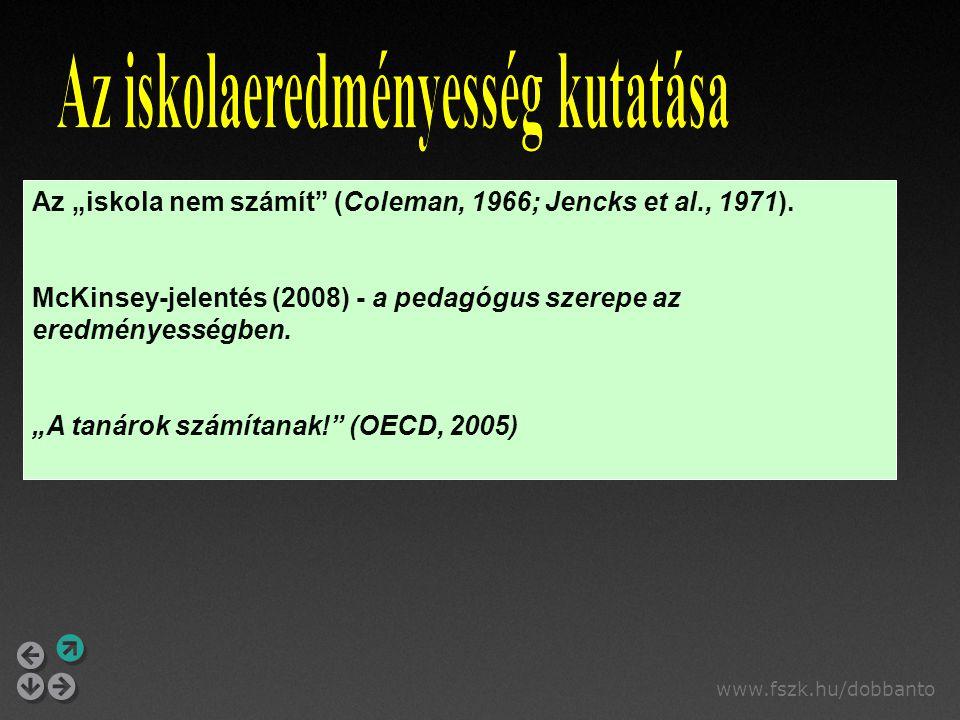 """www.fszk.hu/dobbanto Az """"iskola nem számít"""" (Coleman, 1966; Jencks et al., 1971). McKinsey-jelentés (2008) - a pedagógus szerepe az eredményességben."""