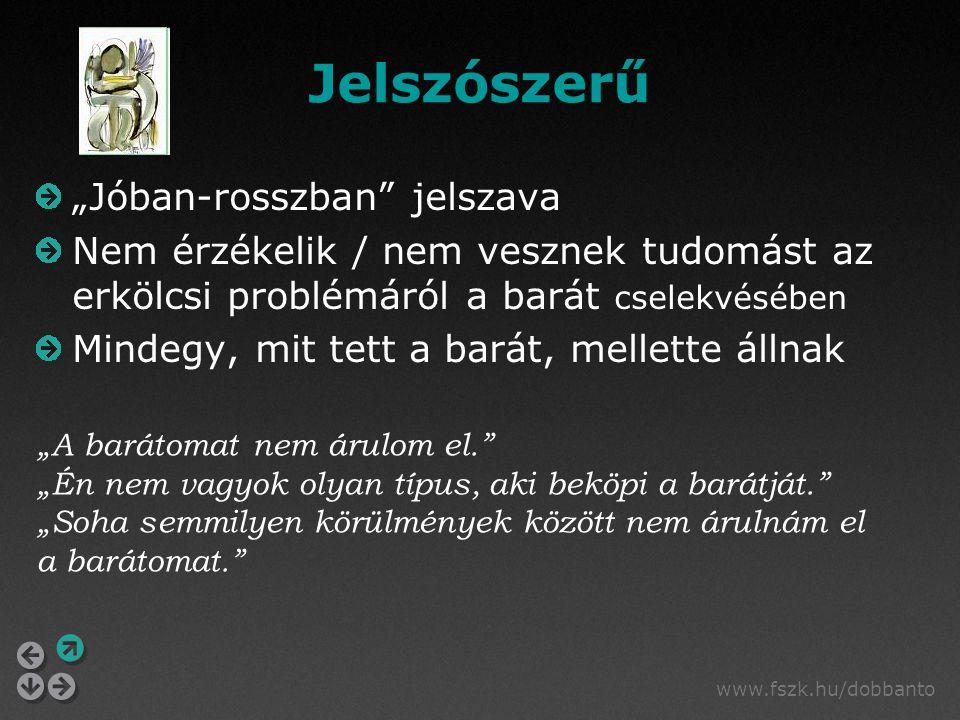 """www.fszk.hu/dobbanto Jelszószerű """"Jóban-rosszban"""" jelszava Nem érzékelik / nem vesznek tudomást az erkölcsi problémáról a barát cselekvésében Mindegy,"""