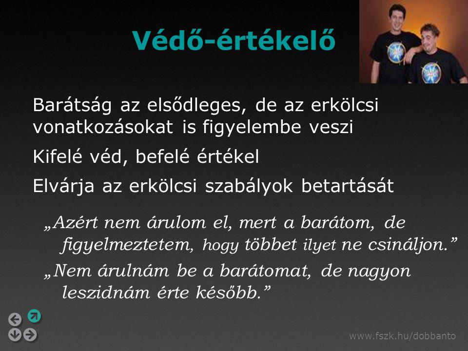 """www.fszk.hu/dobbanto Védő-értékelő """"Azért nem árulom el, mert a barátom, de figyelmeztetem, hogy többet ilyet ne csináljon."""" """"Nem árulnám be a barátom"""