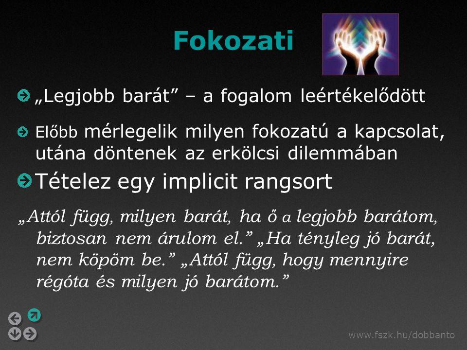 """www.fszk.hu/dobbanto Fokozati """"Legjobb barát"""" – a fogalom leértékelődött Előbb mérlegelik milyen fokozatú a kapcsolat, utána döntenek az erkölcsi dile"""