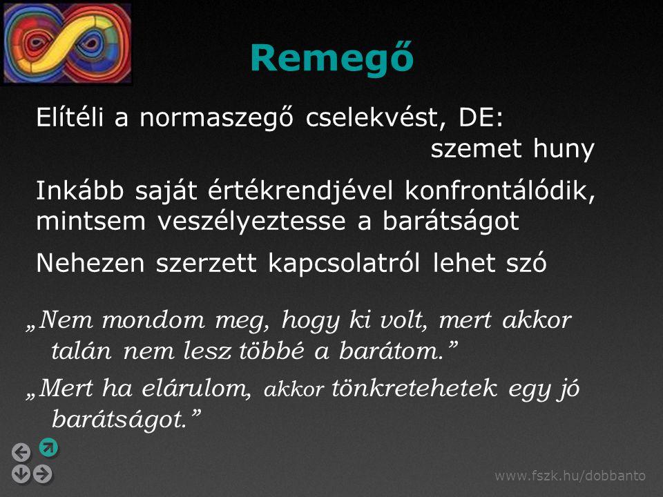 """www.fszk.hu/dobbanto """"Nem mondom meg, hogy ki volt, mert akkor talán nem lesz többé a barátom."""" """"Mert ha elárulom, akkor tönkretehetek egy jó barátság"""