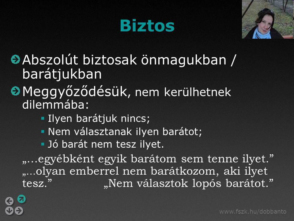 www.fszk.hu/dobbanto Biztos Abszolút biztosak önmagukban / barátjukban Meggyőződésük, nem kerülhetnek dilemmába:  Ilyen barátjuk nincs;  Nem választ
