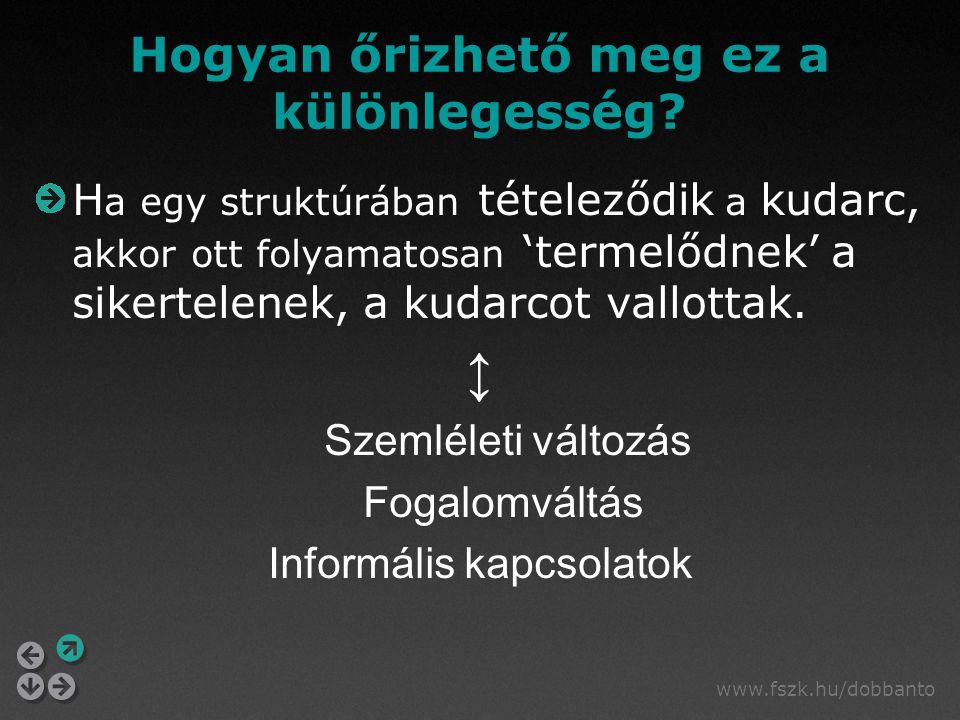 www.fszk.hu/dobbanto Hogyan őrizhető meg ez a különlegesség? H a egy struktúrában tételeződik a kudarc, akkor ott folyamatosan 'termelődnek' a sikerte