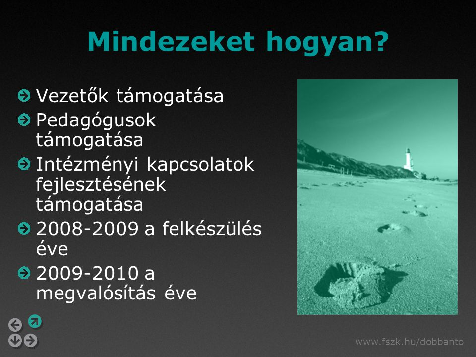www.fszk.hu/dobbanto Mindezeket hogyan? Vezetők támogatása Pedagógusok támogatása Intézményi kapcsolatok fejlesztésének támogatása 2008-2009 a felkész