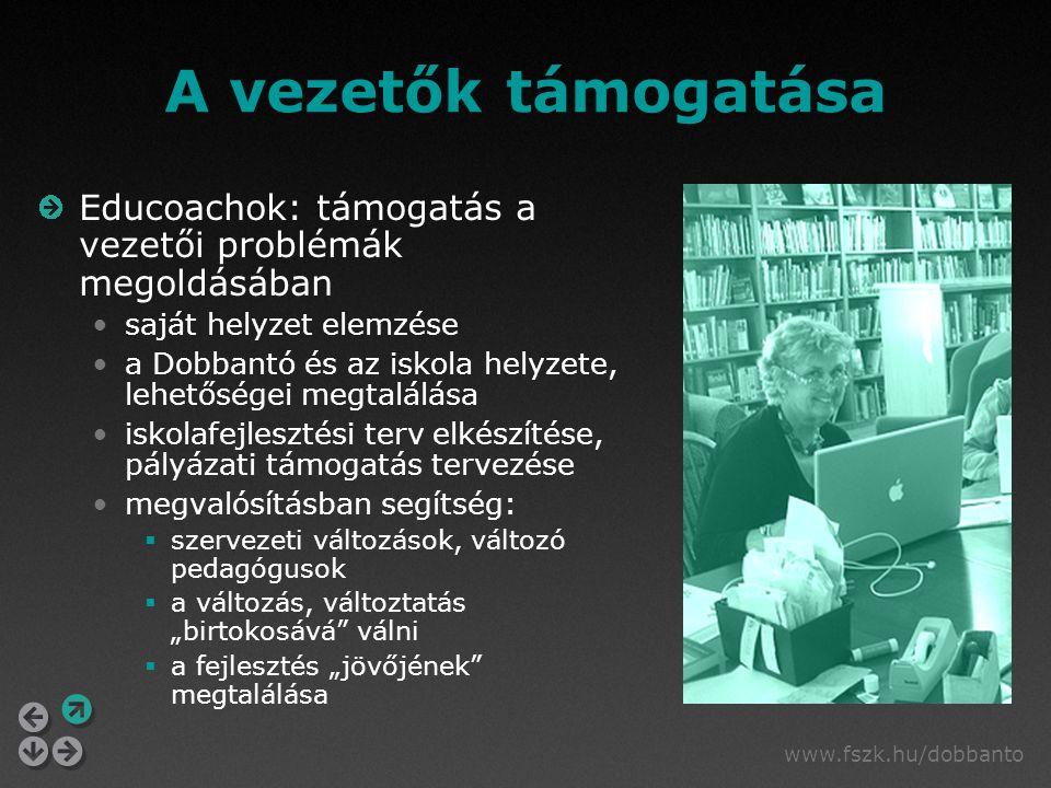 www.fszk.hu/dobbanto A vezetők támogatása Educoachok: támogatás a vezetői problémák megoldásában saját helyzet elemzése a Dobbantó és az iskola helyze