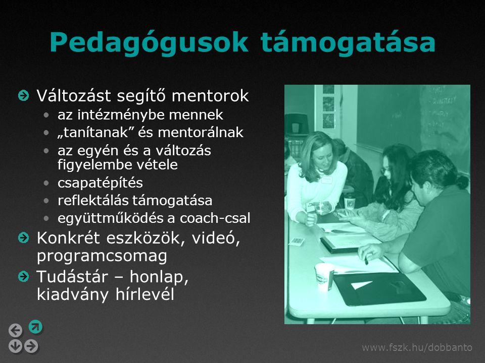 """www.fszk.hu/dobbanto Pedagógusok támogatása Változást segítő mentorok az intézménybe mennek """"tanítanak és mentorálnak az egyén és a változás figyelembe vétele csapatépítés reflektálás támogatása együttműködés a coach-csal Konkrét eszközök, videó, programcsomag Tudástár – honlap, kiadvány hírlevél"""