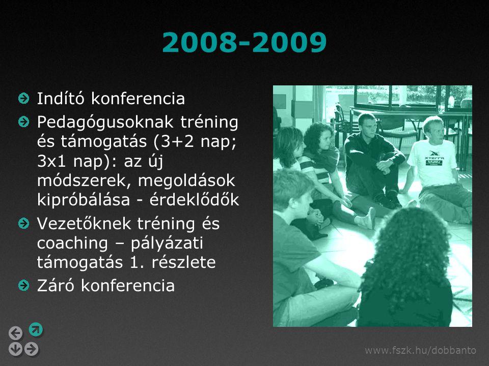 www.fszk.hu/dobbanto 2008-2009 Indító konferencia Pedagógusoknak tréning és támogatás (3+2 nap; 3x1 nap): az új módszerek, megoldások kipróbálása - érdeklődők Vezetőknek tréning és coaching – pályázati támogatás 1.