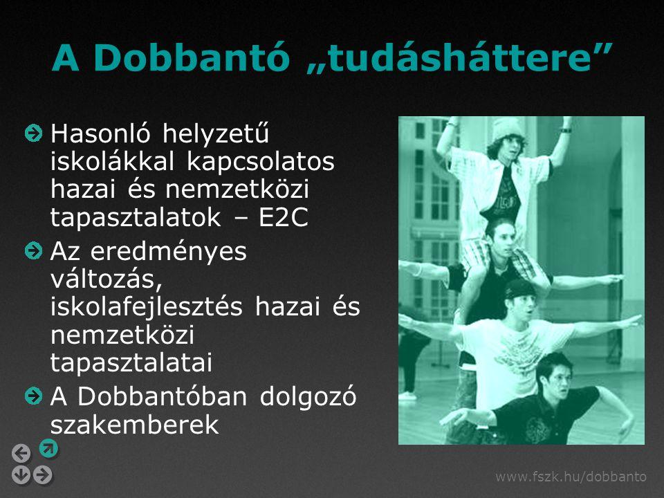"""www.fszk.hu/dobbanto A Dobbantó """"tudásháttere Hasonló helyzetű iskolákkal kapcsolatos hazai és nemzetközi tapasztalatok – E2C Az eredményes változás, iskolafejlesztés hazai és nemzetközi tapasztalatai A Dobbantóban dolgozó szakemberek"""