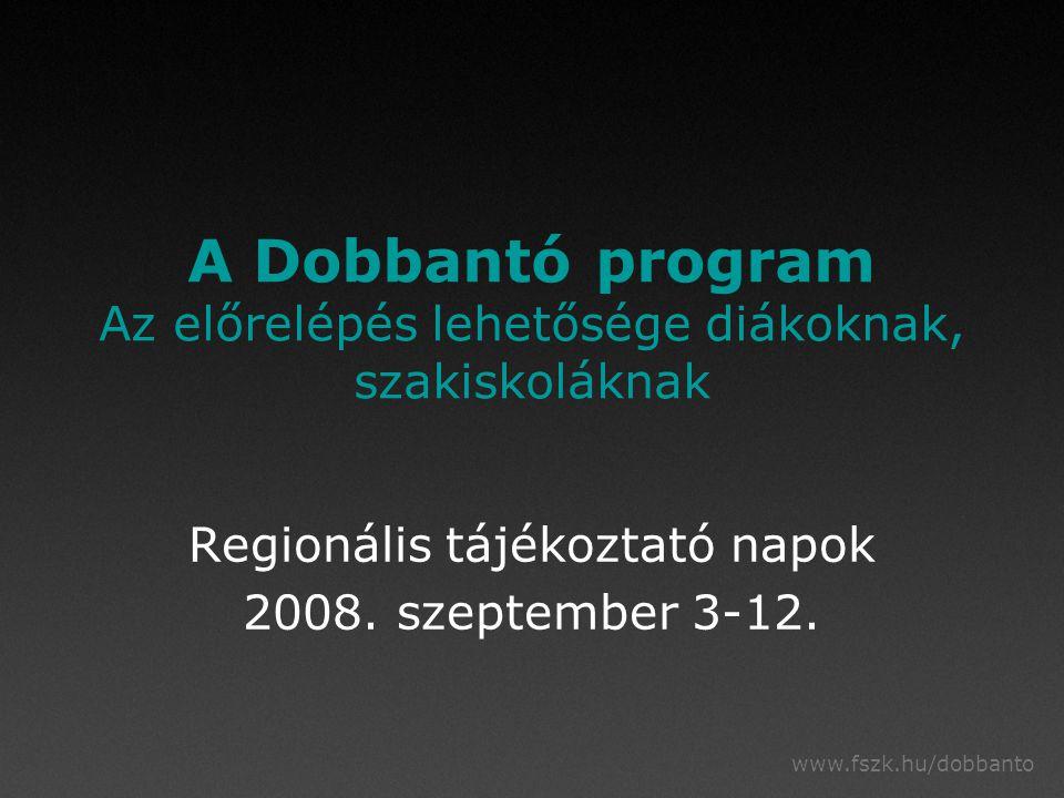 """www.fszk.hu/dobbanto A vezetők támogatása Educoachok: támogatás a vezetői problémák megoldásában saját helyzet elemzése a Dobbantó és az iskola helyzete, lehetőségei megtalálása iskolafejlesztési terv elkészítése, pályázati támogatás tervezése megvalósításban segítség:  szervezeti változások, változó pedagógusok  a változás, változtatás """"birtokosává válni  a fejlesztés """"jövőjének megtalálása"""