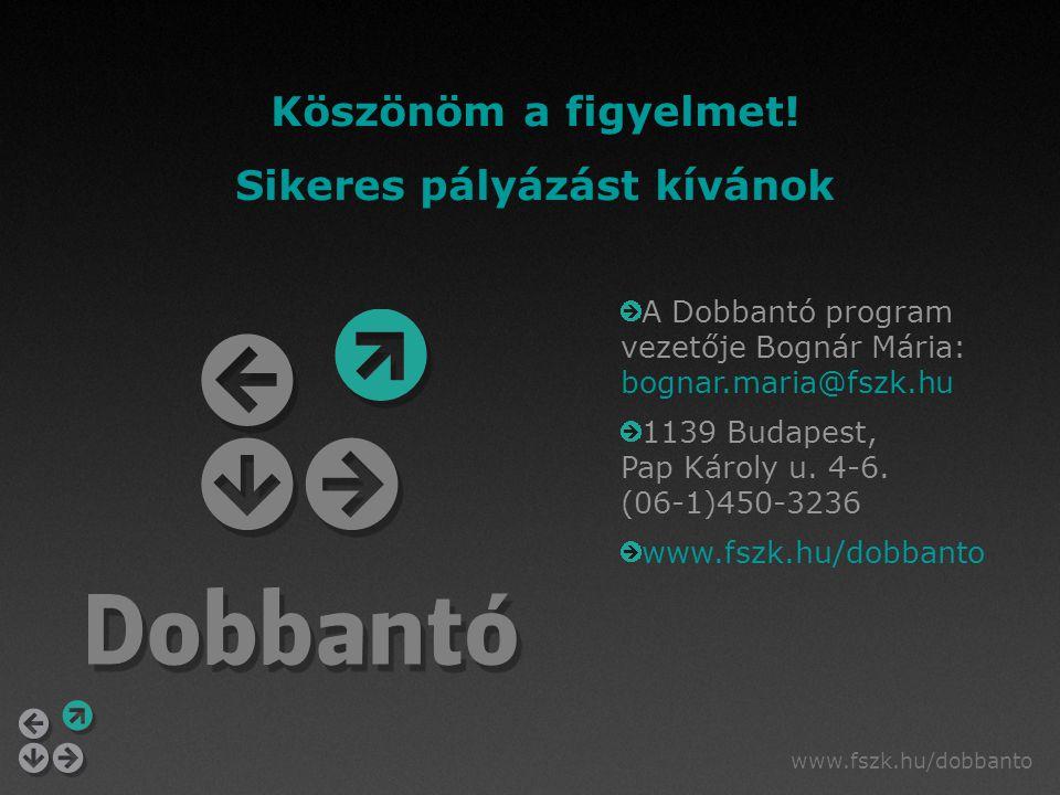 A Dobbantó program vezetője Bognár Mária: bognar.maria@fszk.hu 1139 Budapest, Pap Károly u. 4-6. (06-1)450-3236 www.fszk.hu/dobbanto Köszönöm a figyel