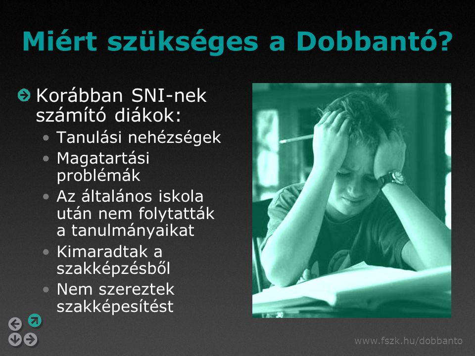 www.fszk.hu/dobbanto Miért szükséges a Dobbantó? Korábban SNI-nek számító diákok: Tanulási nehézségek Magatartási problémák Az általános iskola után n