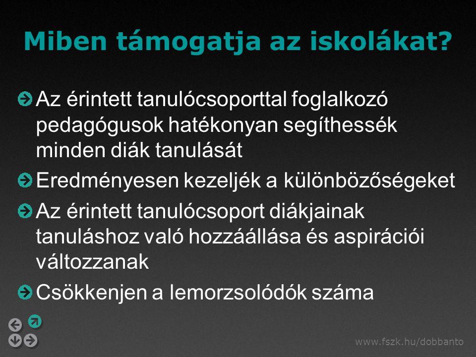 www.fszk.hu/dobbanto Miben támogatja az iskolákat.