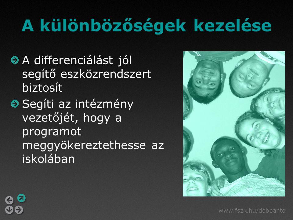 www.fszk.hu/dobbanto A különbözőségek kezelése A differenciálást jól segítő eszközrendszert biztosít Segíti az intézmény vezetőjét, hogy a programot m