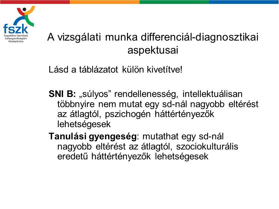 """A vizsgálati munka differenciál-diagnosztikai aspektusai Lásd a táblázatot külön kivetítve! SNI B: """"súlyos"""" rendellenesség, intellektuálisan többnyire"""