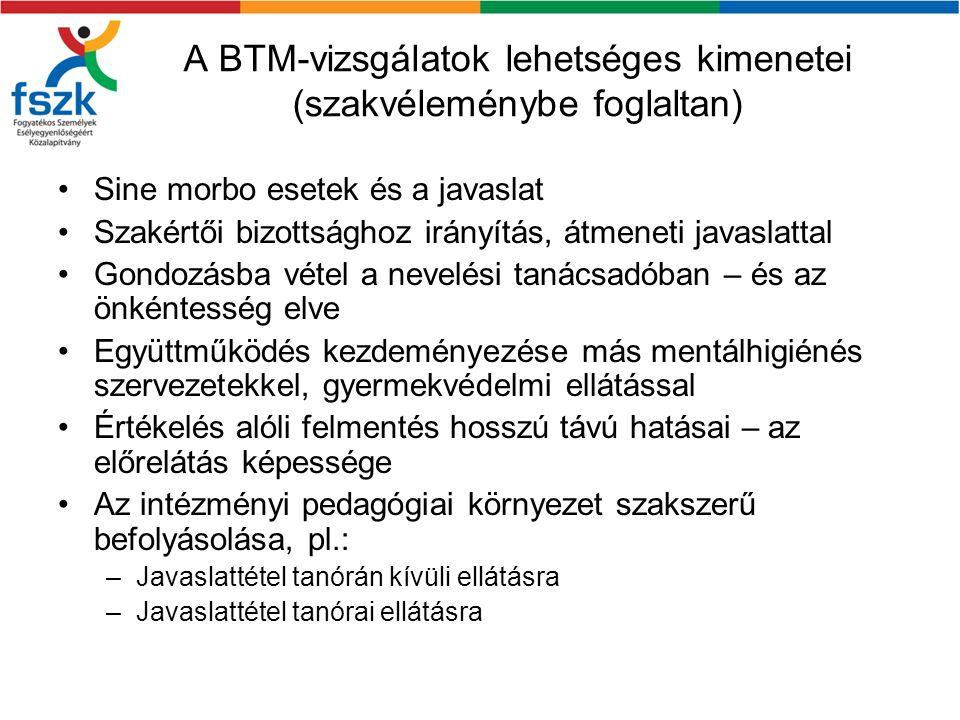 A BTM-vizsgálatok lehetséges kimenetei (szakvéleménybe foglaltan) Sine morbo esetek és a javaslat Szakértői bizottsághoz irányítás, átmeneti javaslatt