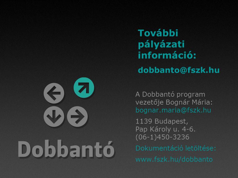 A Dobbantó program vezetője Bognár Mária: bognar.maria@fszk.hu 1139 Budapest, Pap Károly u. 4-6. (06-1)450-3236 Dokumentáció letöltése: www.fszk.hu/do
