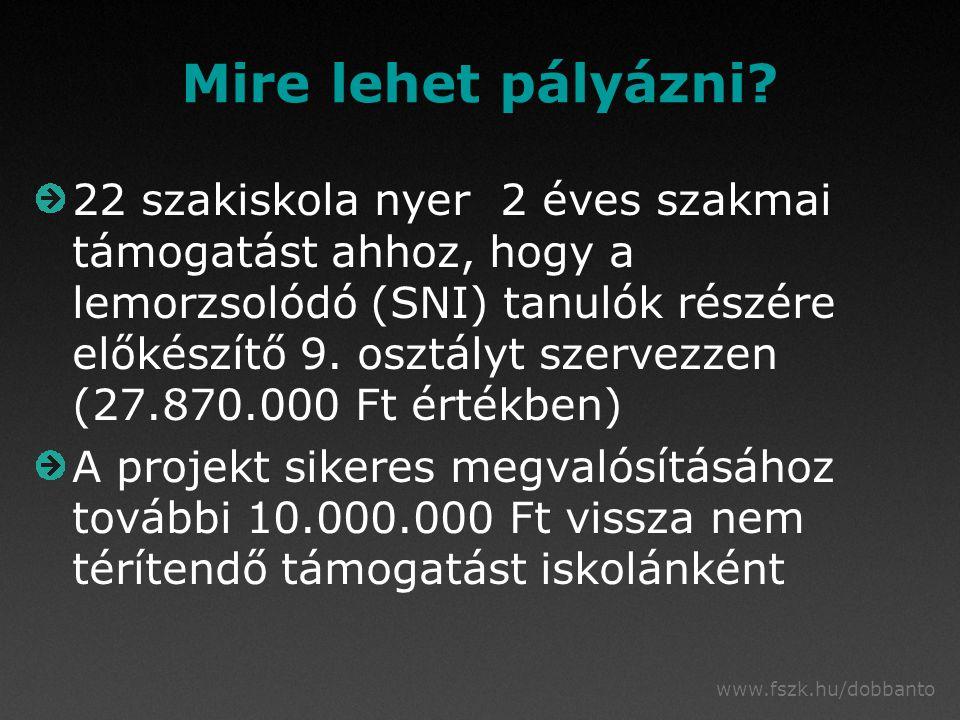 www.fszk.hu/dobbanto Mire lehet pályázni? 22 szakiskola nyer 2 éves szakmai támogatást ahhoz, hogy a lemorzsolódó (SNI) tanulók részére előkészítő 9.