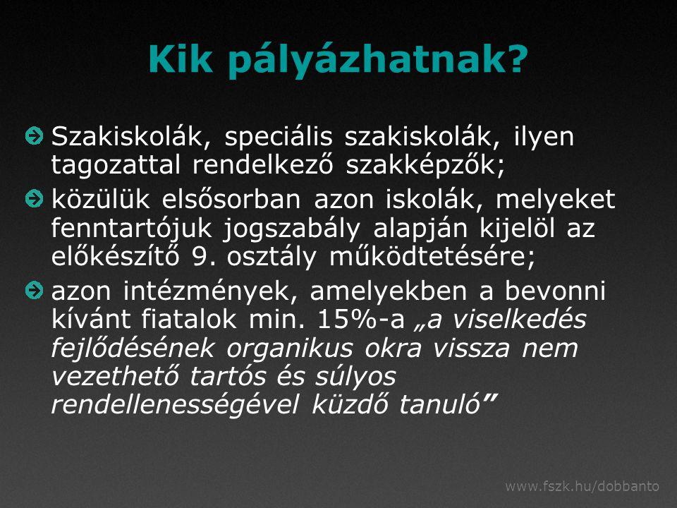 www.fszk.hu/dobbanto Kik pályázhatnak? Szakiskolák, speciális szakiskolák, ilyen tagozattal rendelkező szakképzők; közülük elsősorban azon iskolák, me