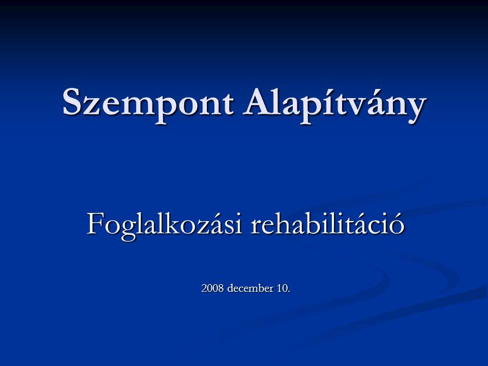 Szempont Alapítvány Foglalkozási rehabilitáció 2008 december 10.