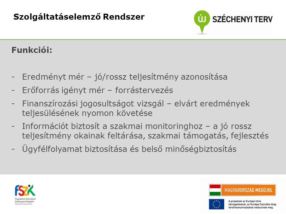 Felhasználói jogosultságok: -Tanácsadó – helyi szint -AMSZ vezető – helyi adminisztrációs szint -Finanszírozó -Szaktárca -OMK monitor -Elemző -Központi adminisztrátor Szolgáltatáselemző Rendszer