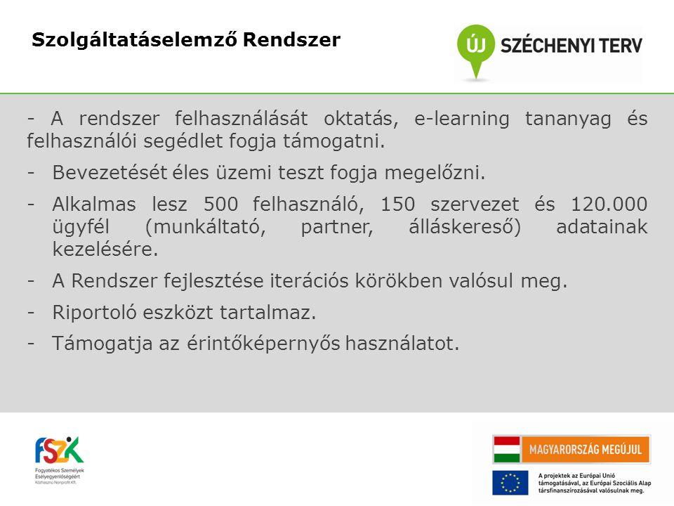 - A rendszer felhasználását oktatás, e-learning tananyag és felhasználói segédlet fogja támogatni.