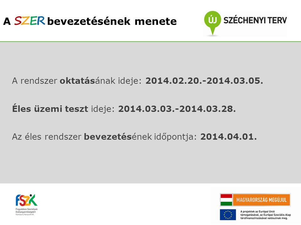 A rendszer oktatásának ideje: 2014.02.20.-2014.03.05. Éles üzemi teszt ideje: 2014.03.03.-2014.03.28. Az éles rendszer bevezetésének időpontja: 2014.0