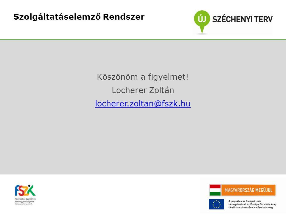 Köszönöm a figyelmet! Locherer Zoltán locherer.zoltan@fszk.hu Szolgáltatáselemző Rendszer