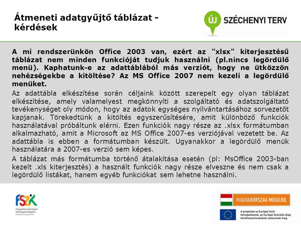 A mi rendszerünkön Office 2003 van, ezért az xlsx kiterjesztésű táblázat nem minden funkcióját tudjuk használni (pl.nincs legördülő menü).