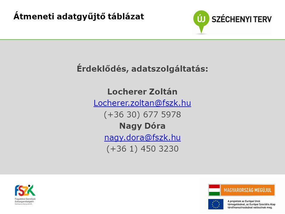 Érdeklődés, adatszolgáltatás: Locherer Zoltán Locherer.zoltan@fszk.hu (+36 30) 677 5978 Nagy Dóra nagy.dora@fszk.hu (+36 1) 450 3230 Átmeneti adatgyűjtő táblázat