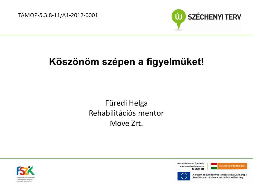 Köszönöm szépen a figyelmüket! Füredi Helga Rehabilitációs mentor Move Zrt. TÁMOP-5.3.8-11/A1-2012-0001