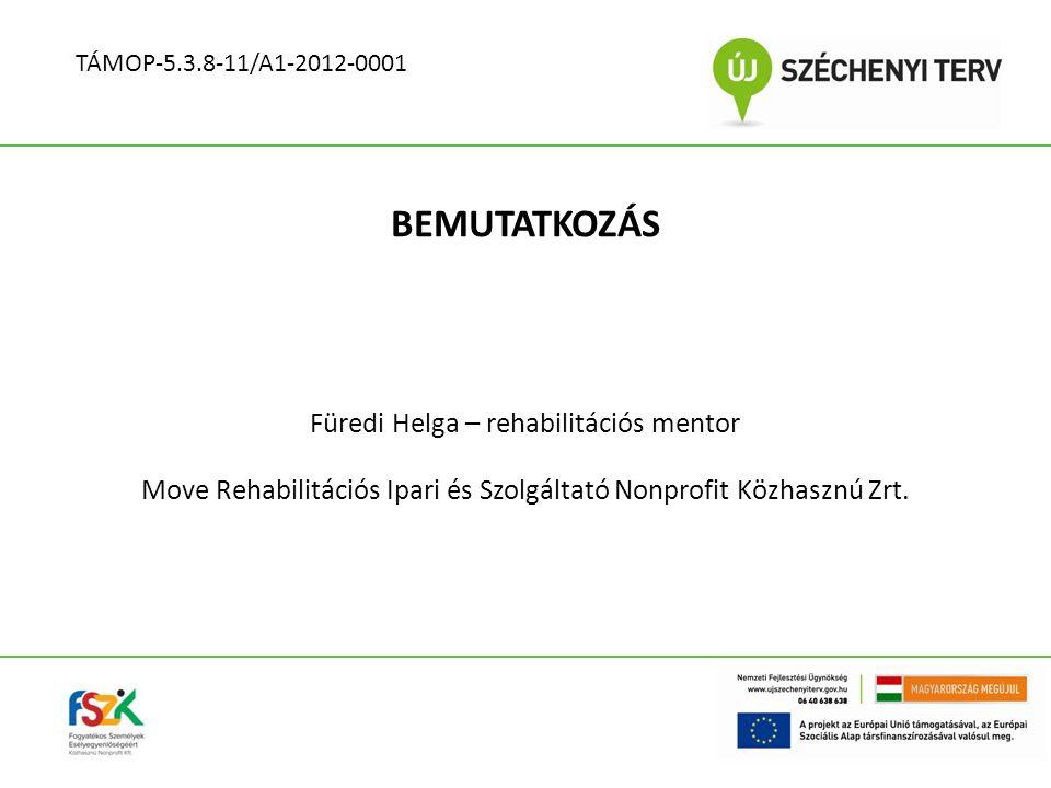 BEMUTATKOZÁS Füredi Helga – rehabilitációs mentor Move Rehabilitációs Ipari és Szolgáltató Nonprofit Közhasznú Zrt. TÁMOP-5.3.8-11/A1-2012-0001