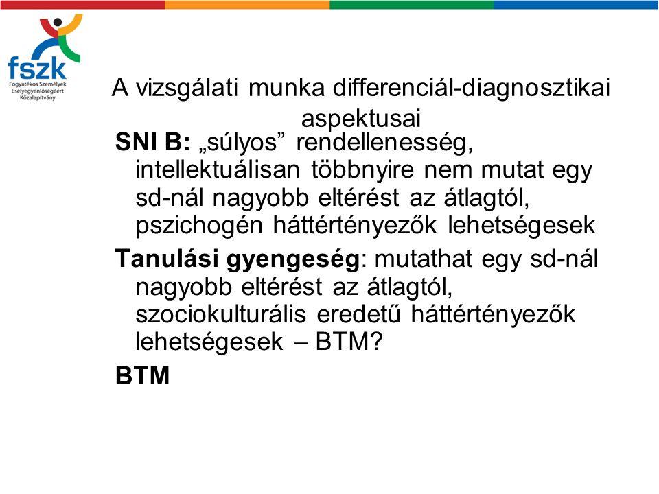 """A vizsgálati munka differenciál-diagnosztikai aspektusai SNI B: """"súlyos rendellenesség, intellektuálisan többnyire nem mutat egy sd-nál nagyobb eltérést az átlagtól, pszichogén háttértényezők lehetségesek Tanulási gyengeség: mutathat egy sd-nál nagyobb eltérést az átlagtól, szociokulturális eredetű háttértényezők lehetségesek – BTM."""