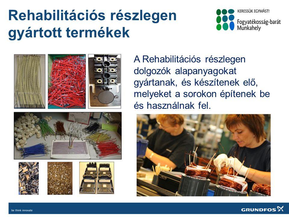 Rehabilitációs részlegen gyártott termékek A Rehabilitációs részlegen dolgozók alapanyagokat gyártanak, és készítenek elő, melyeket a sorokon építenek be és használnak fel.