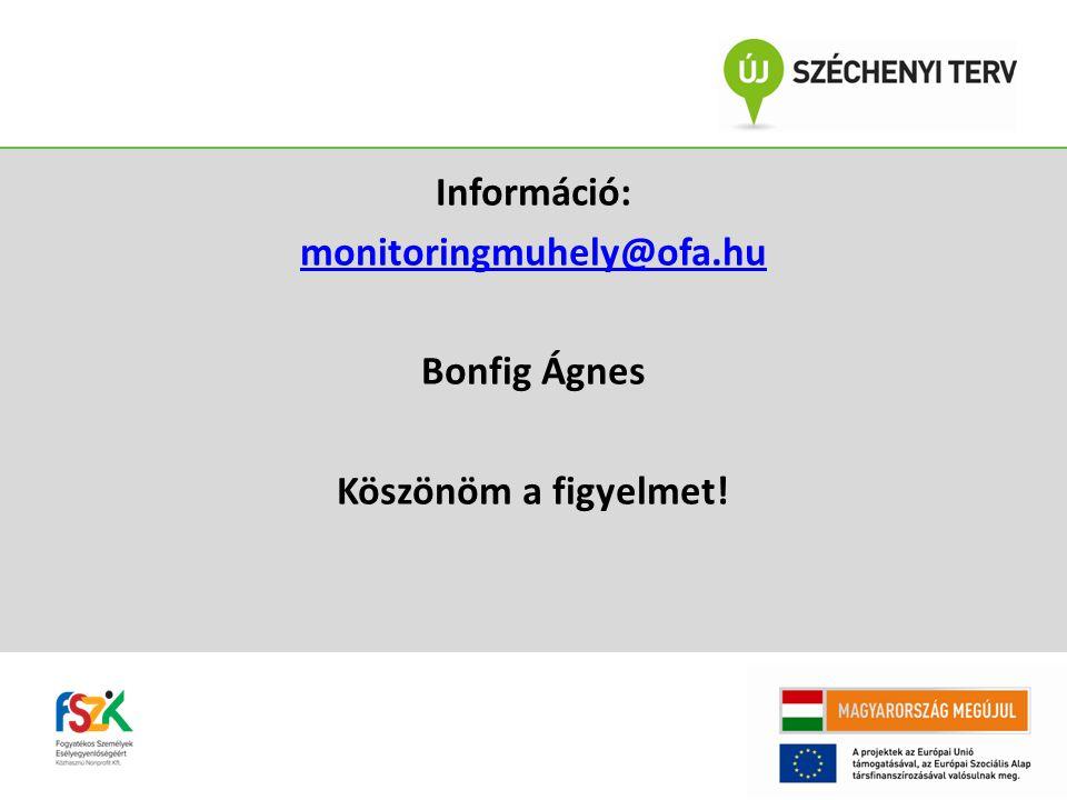 Információ: monitoringmuhely@ofa.hu Bonfig Ágnes Köszönöm a figyelmet!
