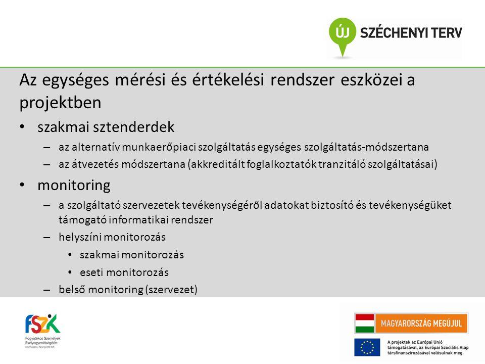 Az egységes mérési és értékelési rendszer eszközei a projektben szakmai sztenderdek – az alternatív munkaerőpiaci szolgáltatás egységes szolgáltatás-módszertana – az átvezetés módszertana (akkreditált foglalkoztatók tranzitáló szolgáltatásai) monitoring – a szolgáltató szervezetek tevékenységéről adatokat biztosító és tevékenységüket támogató informatikai rendszer – helyszíni monitorozás szakmai monitorozás eseti monitorozás – belső monitoring (szervezet)