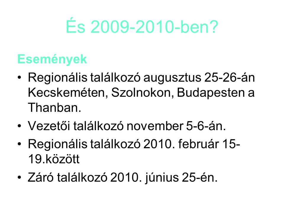 És 2009-2010-ben? Események Regionális találkozó augusztus 25-26-án Kecskeméten, Szolnokon, Budapesten a Thanban. Vezetői találkozó november 5-6-án. R