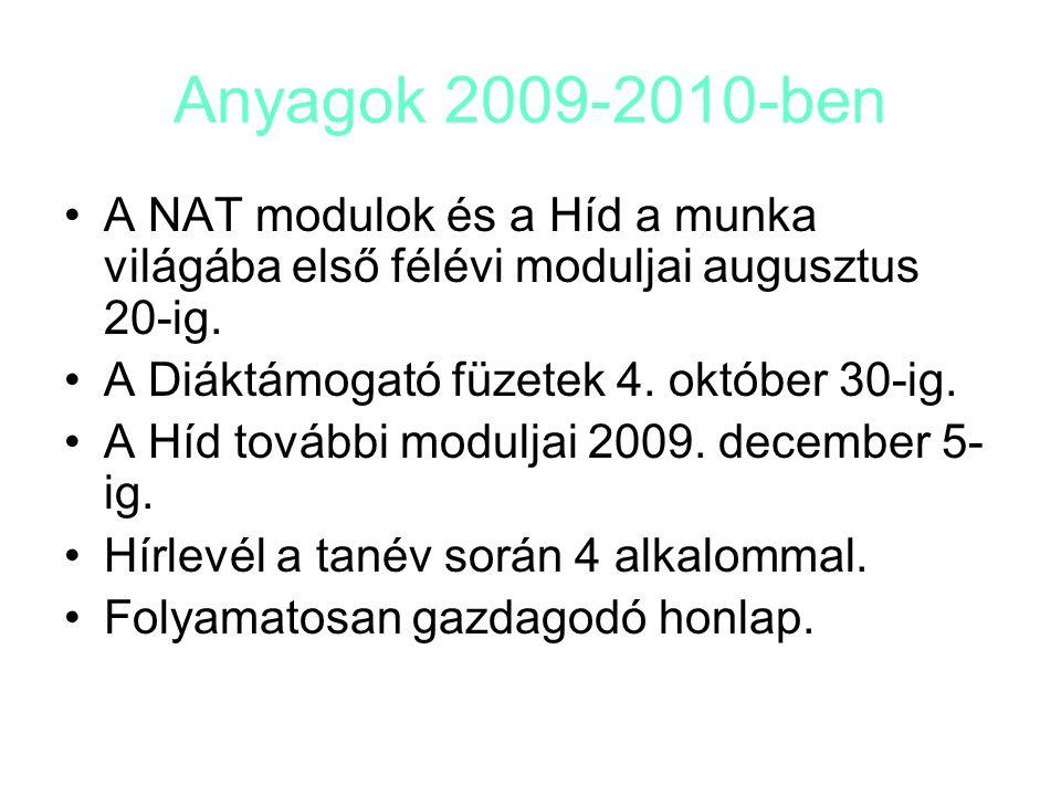Anyagok 2009-2010-ben A NAT modulok és a Híd a munka világába első félévi moduljai augusztus 20-ig. A Diáktámogató füzetek 4. október 30-ig. A Híd tov