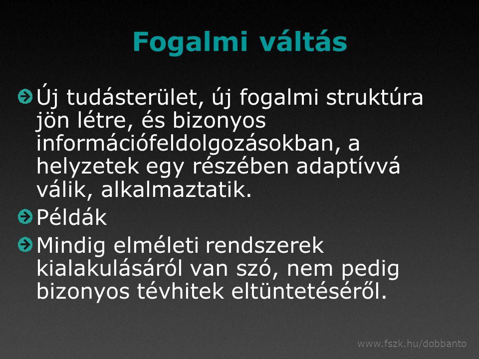www.fszk.hu/dobbanto Fogalmi váltás Új tudásterület, új fogalmi struktúra jön létre, és bizonyos információfeldolgozásokban, a helyzetek egy részében adaptívvá válik, alkalmaztatik.