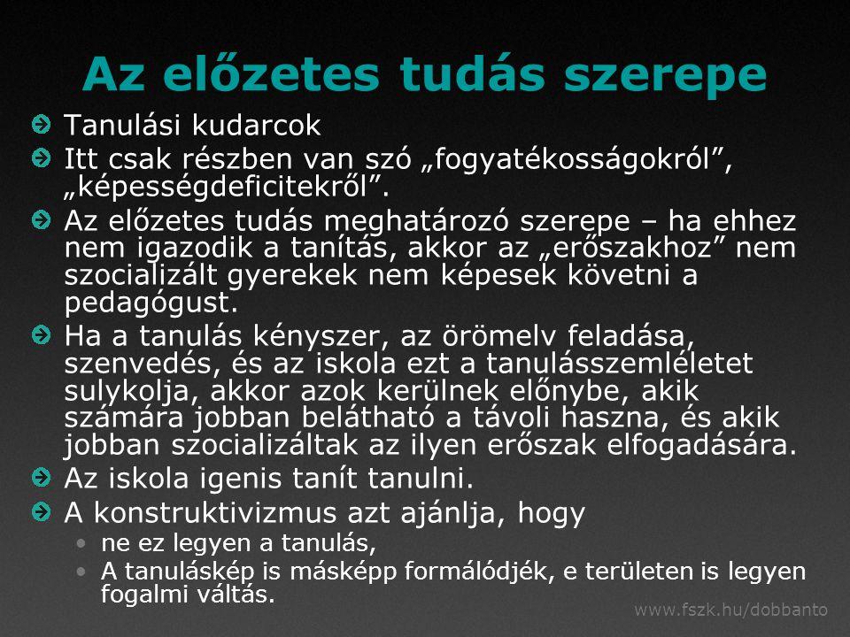 """www.fszk.hu/dobbanto Az előzetes tudás szerepe Tanulási kudarcok Itt csak részben van szó """"fogyatékosságokról , """"képességdeficitekről ."""