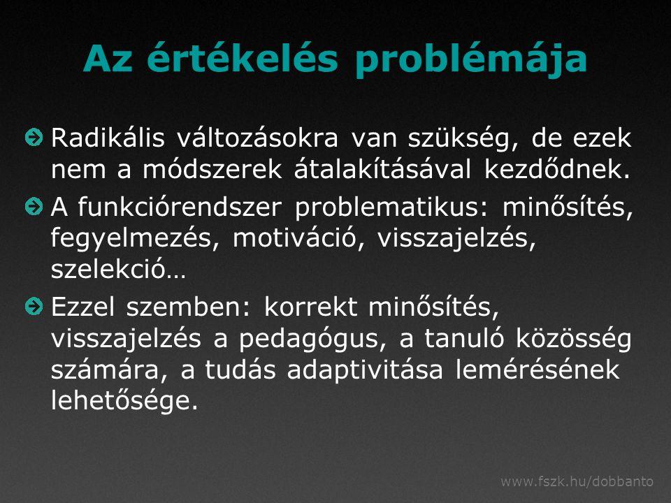 www.fszk.hu/dobbanto Az értékelés problémája Radikális változásokra van szükség, de ezek nem a módszerek átalakításával kezdődnek.