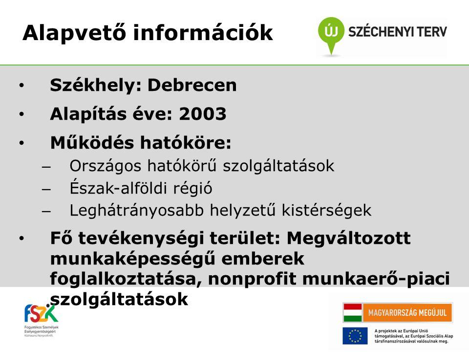 Székhely: Debrecen Alapítás éve: 2003 Működés hatóköre: – Országos hatókörű szolgáltatások – Észak-alföldi régió – Leghátrányosabb helyzetű kistérségek Fő tevékenységi terület: Megváltozott munkaképességű emberek foglalkoztatása, nonprofit munkaerő-piaci szolgáltatások Alapvető információk